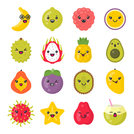Cute smiling exotic fruits. tropical fruit characters. Isolated colorful vector icon set