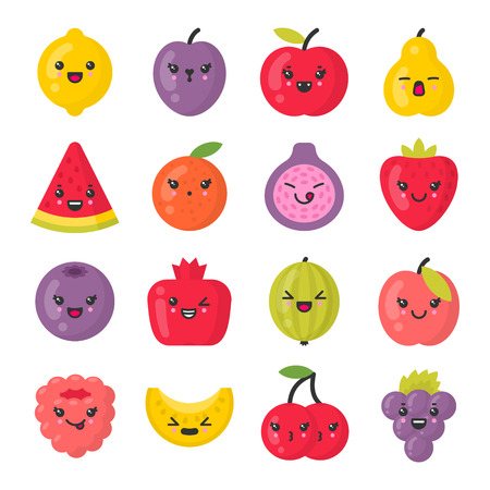 Cute smiling fruits. fruit characters. Isolated colorful vector icon set