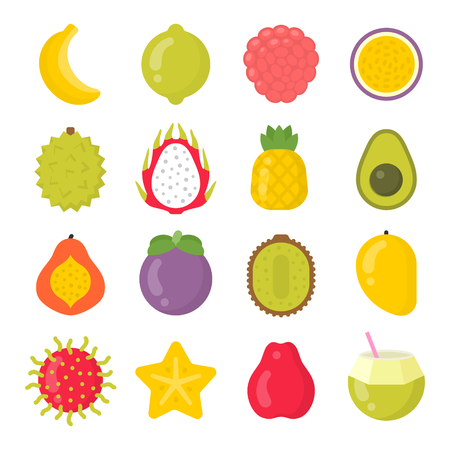 Exotic fruits isolated colorful vector icons set. Tropical fruit collection Ilustração