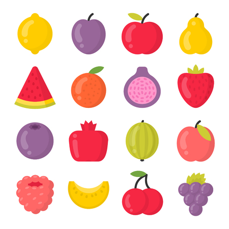 Sweet fruits isolated colorful vector icons set. Bright fruit collection Ilustração