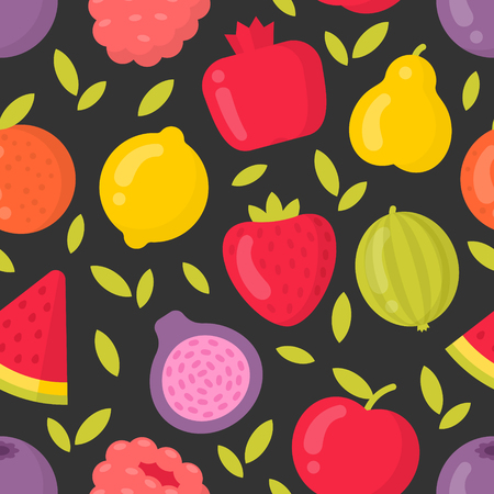 Bright fruits vector seamless pattern on dark background. Best for textile, backdrop, wrapping paper Ilustração