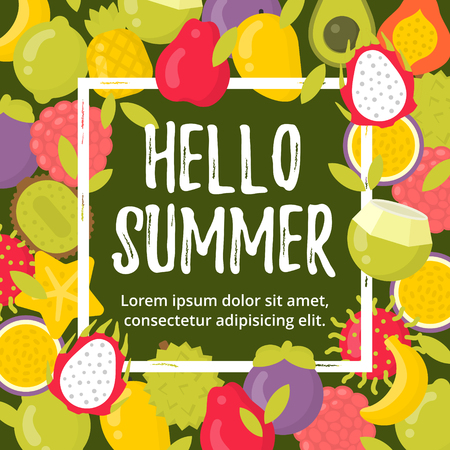 Summer poster with tropical fruits and lettering. Hello summer frame vector illustration Ilustracja