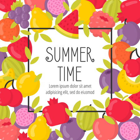 Summer poster with bright fruits and lettering. Summer time frame vector illustration