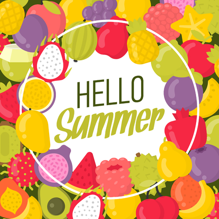 Summer poster with a lot of fruits and lettering. Hello summer frame vector illustration Ilustracja
