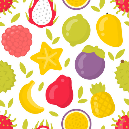 Cute exotic fruits, vector seamless pattern on white background. Best for textile, backdrop, wrapping paper Ilustração