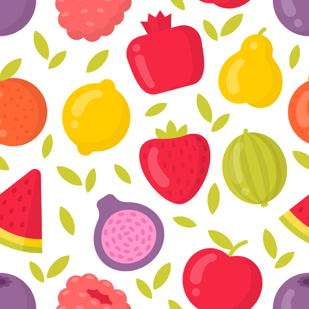 Cute fruits vector seamless pattern on white background. Best for textile, backdrop, wrapping paper