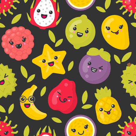 Cute smiling exotic fruits, vector seamless pattern on dark background. Best for textile, backdrop, wrapping paper