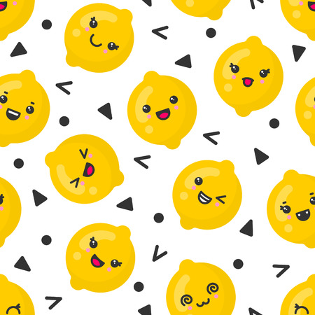 Cute smiling lemon fruits, vector seamless pattern on white background. Best for textile, backdrop, wrapping paper
