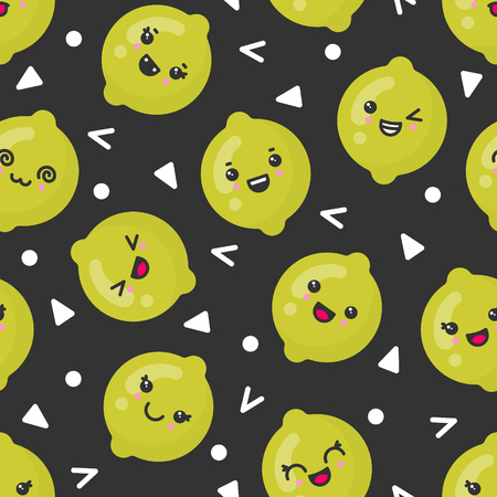 Cute smiling lime fruits, vector seamless pattern on dark background. Best for textile, backdrop, wrapping paper