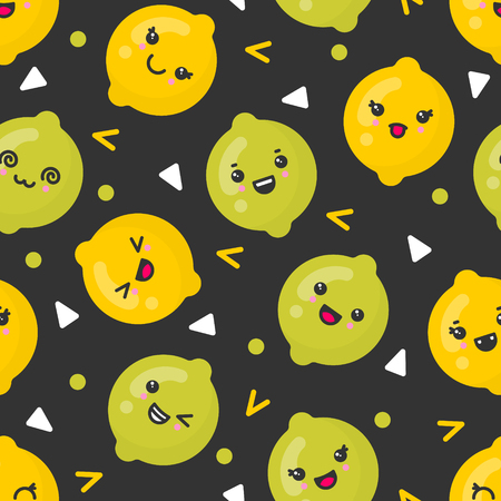 Cute smiling lemon and lime fruits, vector seamless pattern on dark background. Best for textile, backdrop, wrapping paper