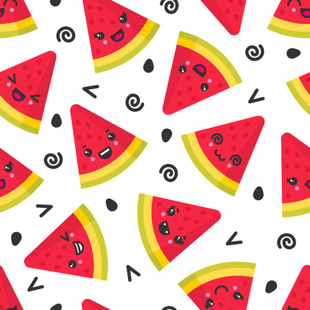 Cute smiling watermelon, vector seamless pattern on white background. Best for textile, backdrop, wrapping paper