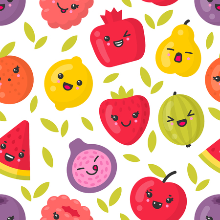 Cute smiling fruits, vector seamless pattern on white background. Best for textile, backdrop, wrapping paper