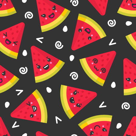 Cute smiling watermelon, vector seamless pattern on dark background. Best for textile, backdrop, wrapping paper