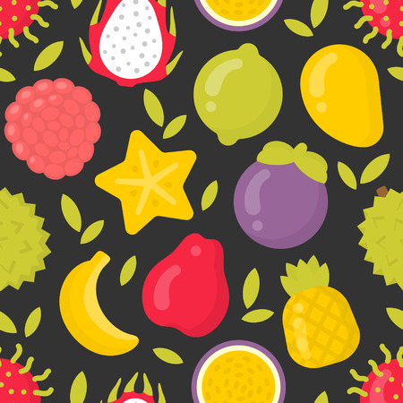 Exotic fruits, vector seamless pattern on darkbackground. Best for textile, backdrop, wrapping paper Ilustração
