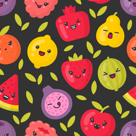 Cute smiling fruits, vector seamless pattern on dark background. Best for textile, backdrop, wrapping paper
