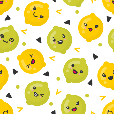 Cute smiling lemon and lime fruits, vector seamless pattern on white background. Best for textile, backdrop, wrapping paper