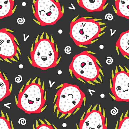Cute smiling dragon fruits, vector seamless pattern on dark background. Best for textile, backdrop, wrapping paper Ilustração