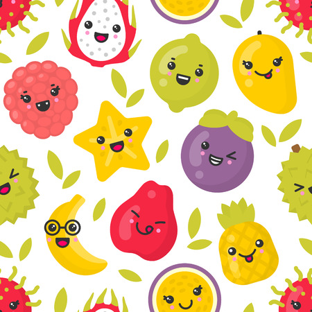 Cute smiling exotic fruits, vector seamless pattern on white background. Best for textile, backdrop, wrapping paper