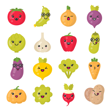 Cute smiling vegetables. Kawaii veggie characters. Isolated colorful vector icon set Çizim