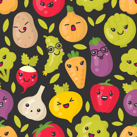 Cute smiling vegetables, vector seamless pattern on dark background. Best for textile, backdrop, wrapping paper Ilustração