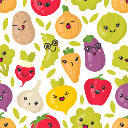 Cute smiling vegetables, vector seamless pattern on white background. Best for textile, backdrop, wrapping paper