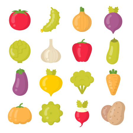 Bright vegetables isolated colorful vector icons set. Summer veggie collection Çizim