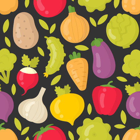 Bright vegetables vector seamless pattern on dark background. Best for textile, backdrop, wrapping paper Çizim