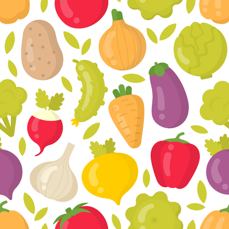 Cute vegetables vector seamless pattern on white background. Best for textile, backdrop, wrapping paper
