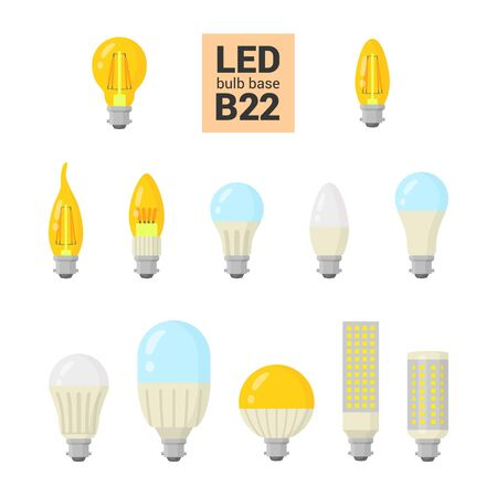 LED light bulbs with B22 base, vector colorful icon set on white background
