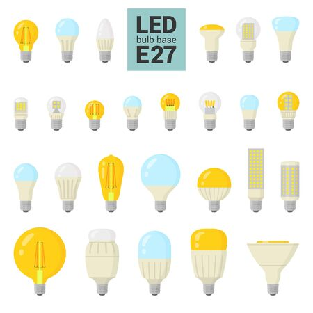 LED light bulbs with E27 base, vector colorful icon set on white background