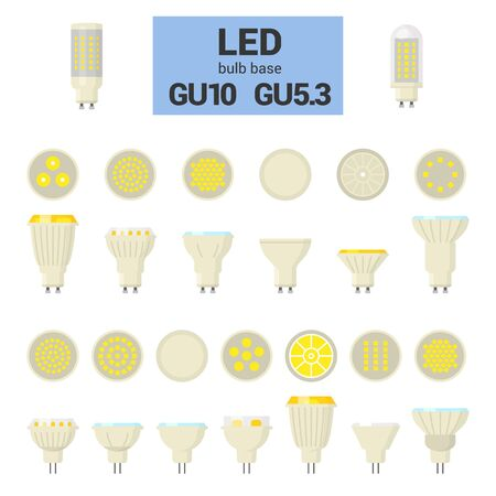 LED light bulbs with GU10 and GU5.3 base, vector colorful icon set on white background