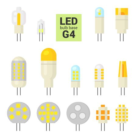 LED light bulbs with G4 base, vector colorful icon set on white background