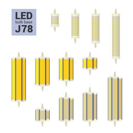 LED light bulbs with J78 and J118 base, vector colorful icon set on white background Ilustracja
