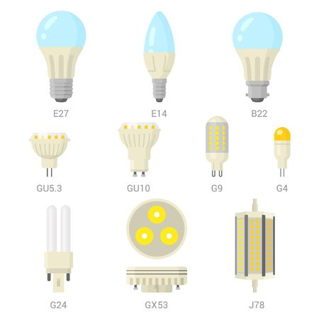 LED light lamp bulbs vector colorful icon set on white background