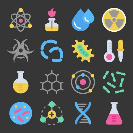Chemistry science details colorful vector icon set on dark background. Pharmacy and chemistry, education and science laboratory elements and equipment