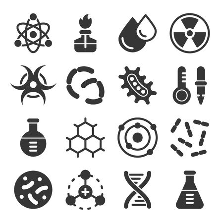 Chemistry science details glyph vector icon set. Pharmacy and chemistry, education and science laboratory elements and equipment