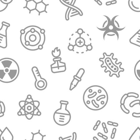 Chemistry science details outline vector seamless pattern. Pharmacy and chemistry, education and science laboratory elements and equipment Ilustracja