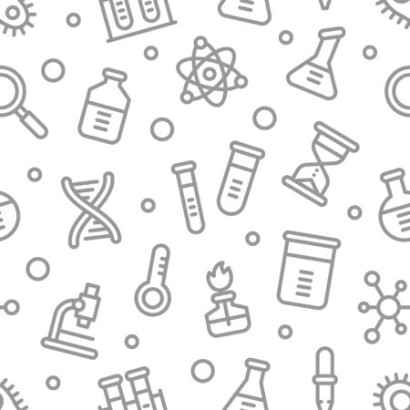 Chemistry science laboratory outline vector seamless pattern. Pharmacy and chemistry, education and science elements and equipment Ilustracja