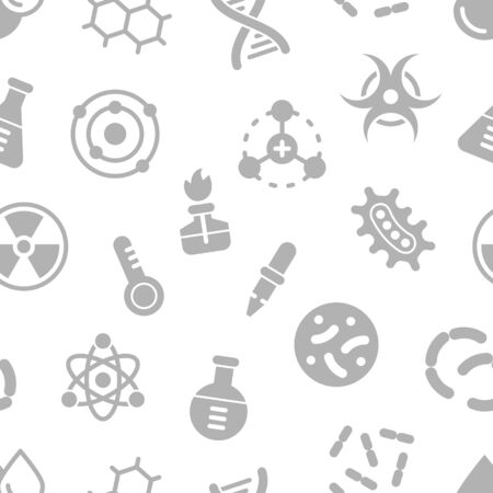 Chemistry science details glyph vector seamless pattern. Pharmacy and chemistry, education and science laboratory elements and equipment
