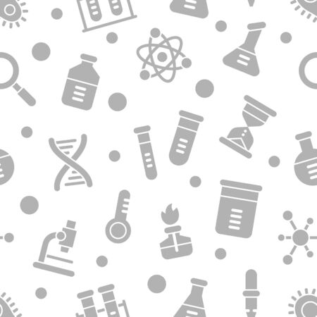 Chemistry science laboratory glyph vector seamless pattern. Pharmacy and chemistry, education and science elements and equipment