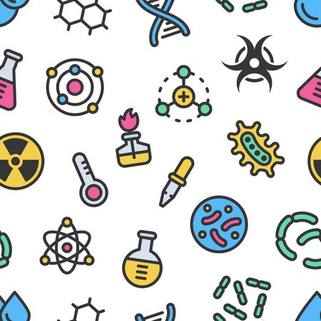 Chemistry science details colorful vector seamless pattern with outline. Pharmacy and chemistry, education and science laboratory elements and equipment