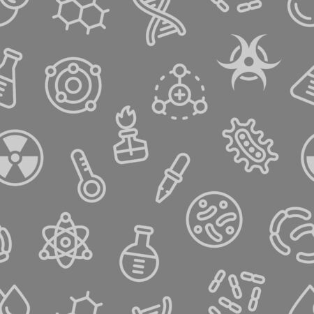 Chemistry science details outline vector seamless pattern on grey background. Pharmacy and chemistry, education and science laboratory elements and equipment