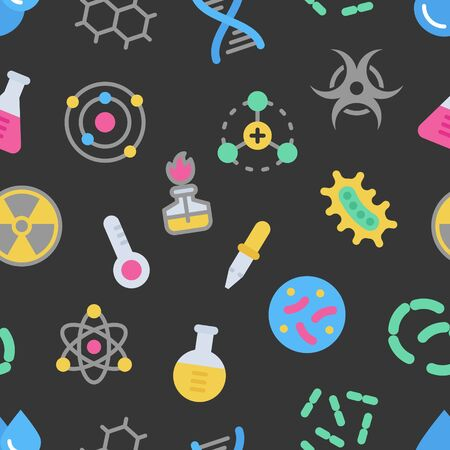 Chemistry science details colorful vector seamless pattern on dark background. Pharmacy and chemistry, education and science laboratory elements and equipment Ilustracja
