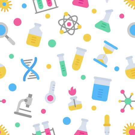 Chemistry science laboratory colorful vector seamless pattern. Pharmacy and chemistry, education and science elements and equipment