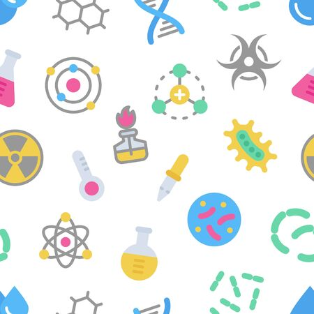 Chemistry science details colorful vector seamless pattern. Pharmacy and chemistry, education and science laboratory elements and equipment