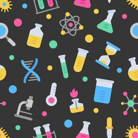 Chemistry science laboratory colorful vector seamless pattern on dark background. Pharmacy and chemistry, education and science elements and equipment Ilustracja