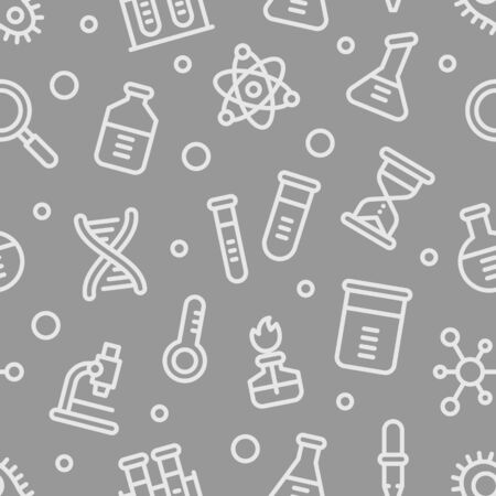 Chemistry science laboratory outline vector seamless pattern on grey background. Pharmacy and chemistry, education and science elements and equipment Ilustracja