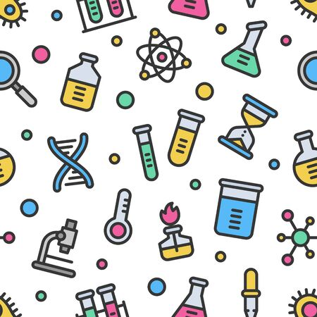 Chemistry science laboratory colorful vector seamless pattern with outline. Pharmacy and chemistry, education and science elements and equipment