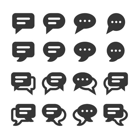 Speech bubbles and dialog balloons glyph style vector icon set. Isolated chat collection on white background