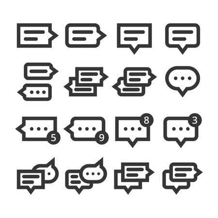 Speech bubbles and dialog balloons line style vector icon set. Isolated chat collection on white background